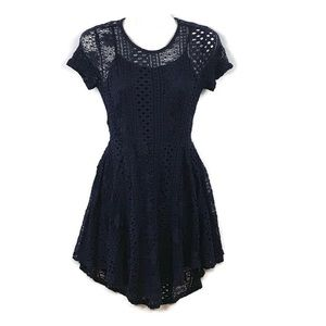 AMERICAN RAG CIE Navy Blue Lace Fit & Flare